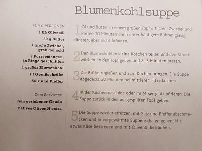 Blumenkohlsuppe Rezept©Oberschule Steimbke